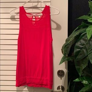 Bright red with sheer stripes tank!